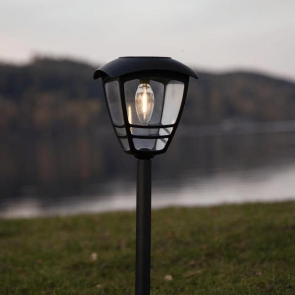 LED Solar -Wegleuchte Felix - warmweiße Filament LED - H: 45cm - D: 14cm - Dämmerungssensor