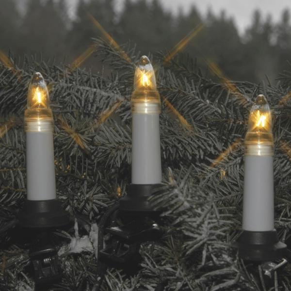 Kerzenkette - 25 warmweiße Kerzen - Outdoor - Ring - E10 Fassung - H: 11cm, L: 12,0m - weiß