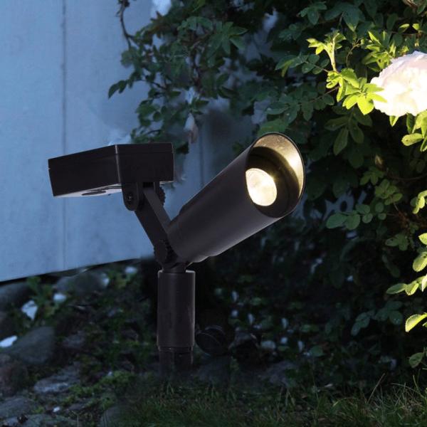 LED Gartenspieß mit Solarfeld - 2er Set - Dämmerungssensor - 20cm - warmweiss