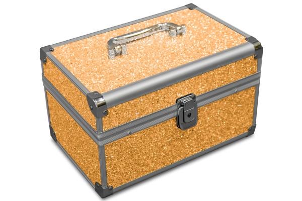 MARELIDA® Schmuckkoffer in Gold mit Glitzeroptik | Premium Schmuckkästchen für Schmuck & Co.