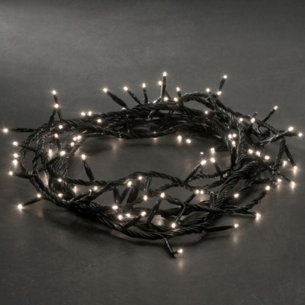 Microlichterkette - Pure - 3,96m - 100 x Warmweiß - Schwarzes Kabel - 8 Funktionen - Outdoor