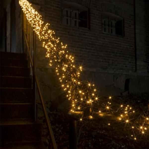 LED Micro Büschellichterkette Cluster - 960 ultra warmweiße LED - 8 Funktionen - L: 7,2m - outdoor