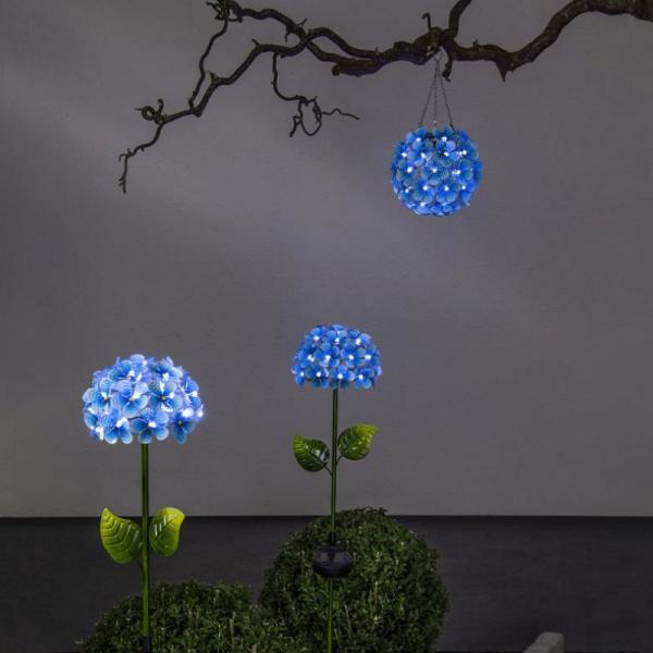LED Solar Hängedeko Hortensie - mit Aufhänger - 44 kaltweiße LED - D: 16cm - Lichtsensor - blau