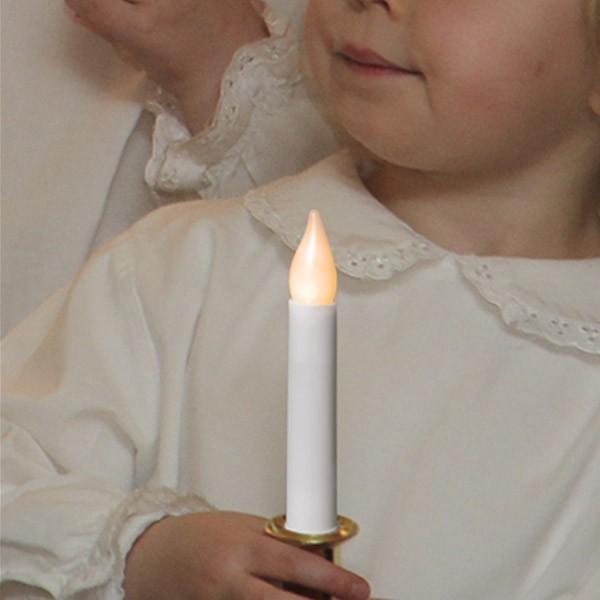 """LED Stabkerze """"Santa Lucia"""" - mit Griff - statische warmweiße LED - H: 17cm - Batterie - weiß/gold"""