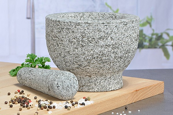 Mörsert aus Granitstein mit Stößel - 15cm Durchmesser - Höhe: 11cm
