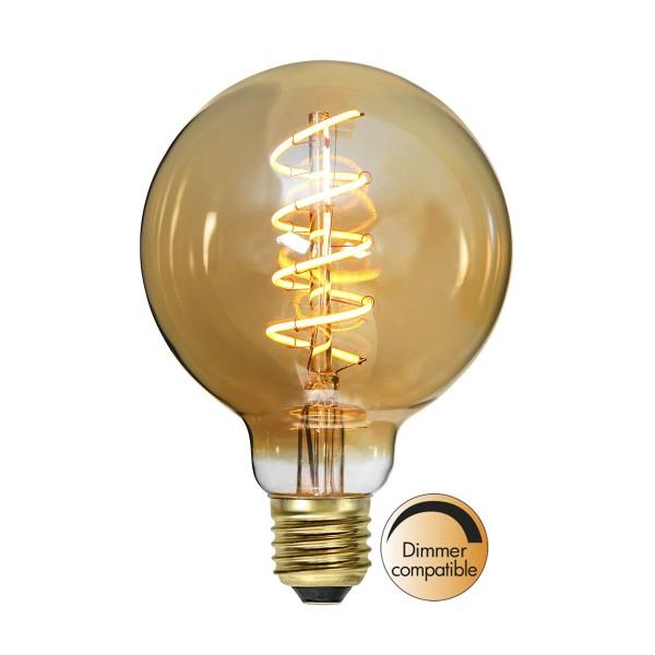 "Dekoration LED Kugellampe ""Amber Spiral Filament""- E27- ultra warmweiß 2000K - 90 Ra - 160lm"