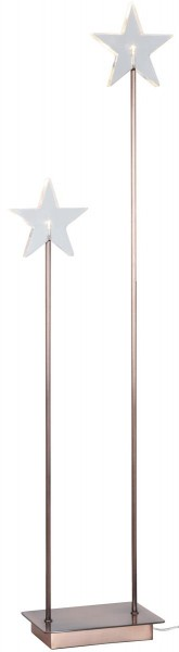 "LED-Standleuchte mit Stern ""Karla"" - 2 warmweiße LEDs - H: 72cm, L: 21cm - transparent/kupfer"