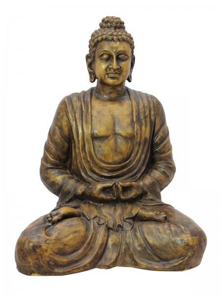meditierender Buddha - Figur 120cm - antik-goldene Wischtechnik - aus Fiberglas