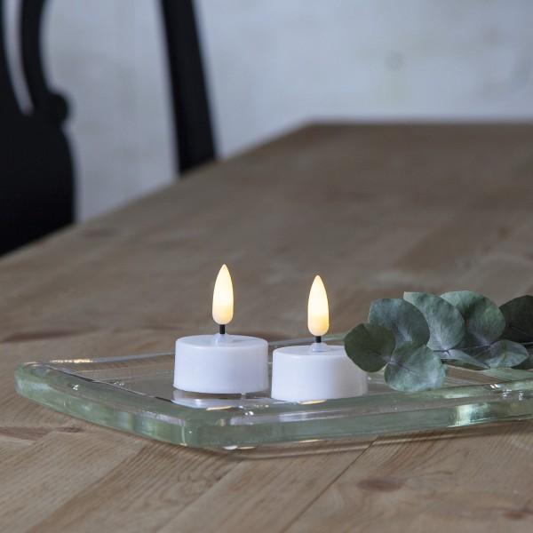 LED Teelicht - warmweiße flackernde Flamme - Batteriebetrieb - Timer - D: 3,8cm - weiß - 2er Set