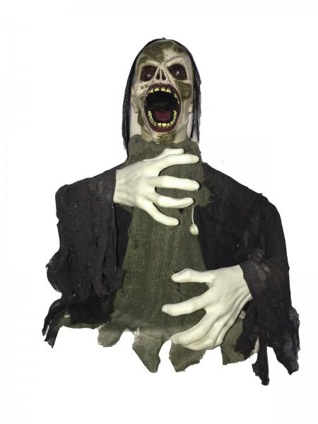 Schreiender Zombie - Halloween Figur 58cm - Riesenhände - Blinkende Augen und Geräusche
