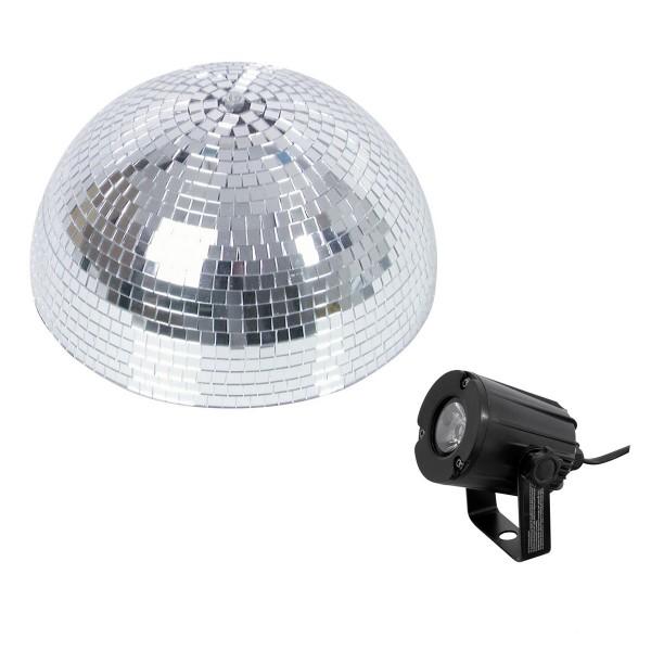 Set Halbspiegelkugel 30cm + 1 x LED Pinspot 3W Kaltweiss