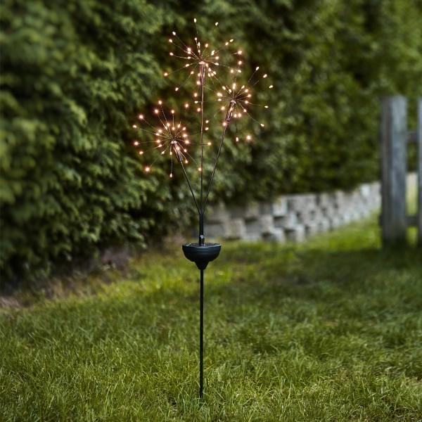 LED Solarstab FEUERWERK Gartendeko - 90 warmweiße LED in 3 Kugeln - H: 95cm - Dämmerungssensor