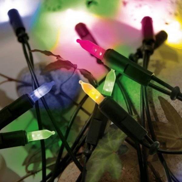 LED Lichterkette Pisello - 20 bunte LED - L: 2,85m - grünes Kabel - indoor - mehrfarbig