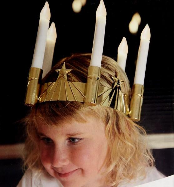 LED-Stabkerze   Santa Lucia   statische LED   Krone   golden
