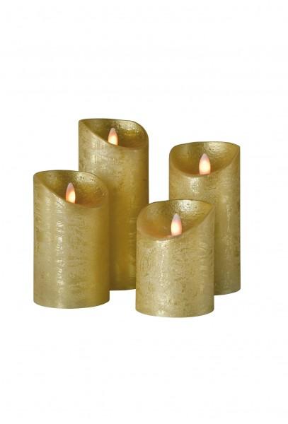 SOMPEX LED Wachskerze SHINE 4er Set | gold | gefrostet | fernbedienbar | Timer