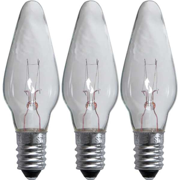 3er Set Ersatzglühbirnen Leuchter E10 - 55V - 3W - klar - dimmbar