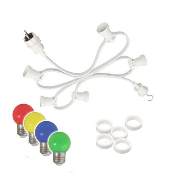 Illu-/Partylichterkette 10m | Außenlichterkette weiß | Made in Germany | 10 x bunte LED Tropfenlampe