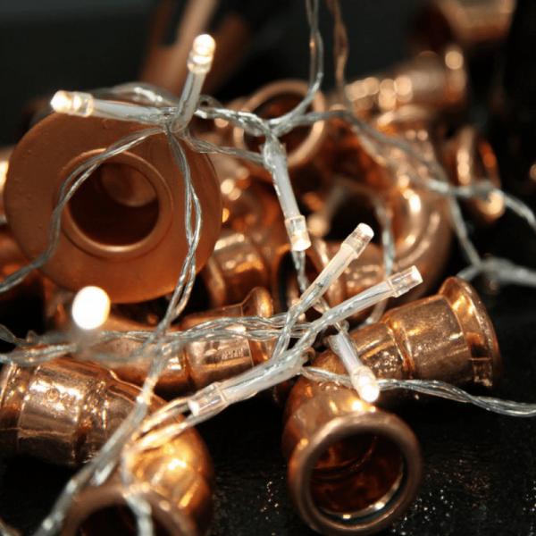 LED Lichterkette - 20 warmweiße LED - Batteriebetrieb - L: 1,9m - Indoor - transparentes Kabel