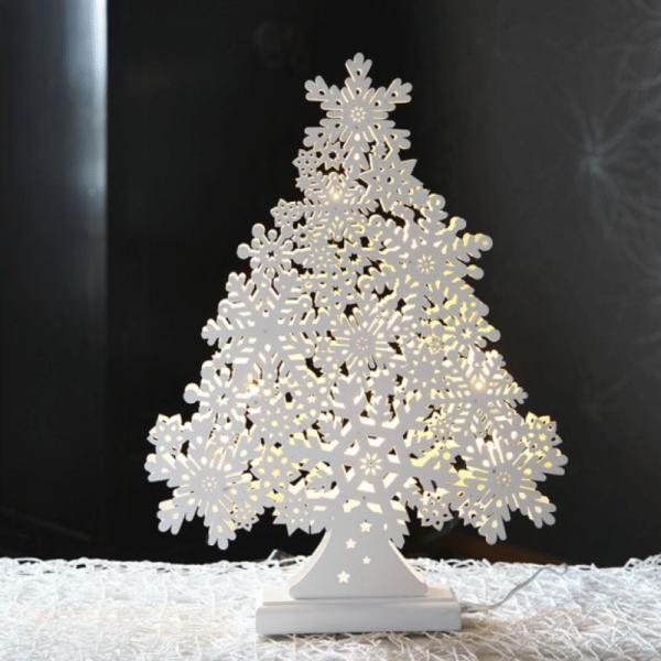 "LED Fensterleuchter ""Snowflake Tree"" - 11 warmweiße LEDs - L: 35cm, H: 47cm - Indoor - weiß"
