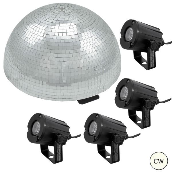Spiegelkugel Komplettset 50cm - Discokugel, Motor, Pinspot, Montagematerial für Diskokugel - Mirrorball Set - Partyset