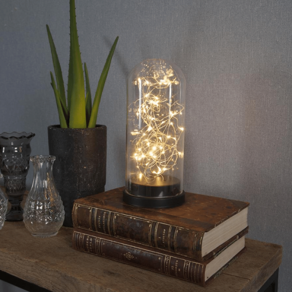 LED Lichterkette in Glaskuppel - 50 warmweiße LED - H: 25cm, D: 11cm - Batterie - Timer - schwarz