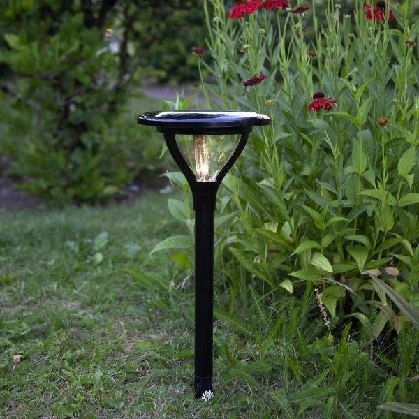 LED Solar Wegleuchte MERVIA - warmweiße LED - 40lm - H: 34cm - Dämmerungsensor - schwarz