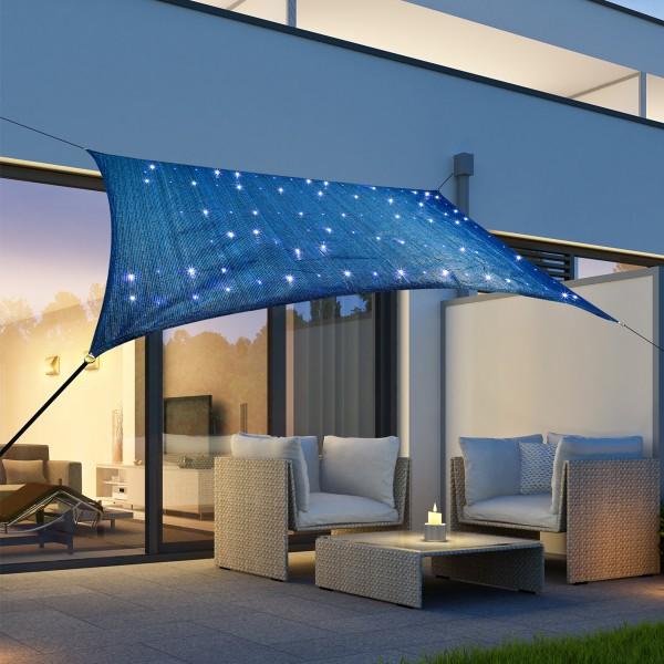 Solar Sonnensegel STERNENHIMMEL - kaltweiße LED - 2 x 3m - UV 50 - Rechteck - blau, schwarz