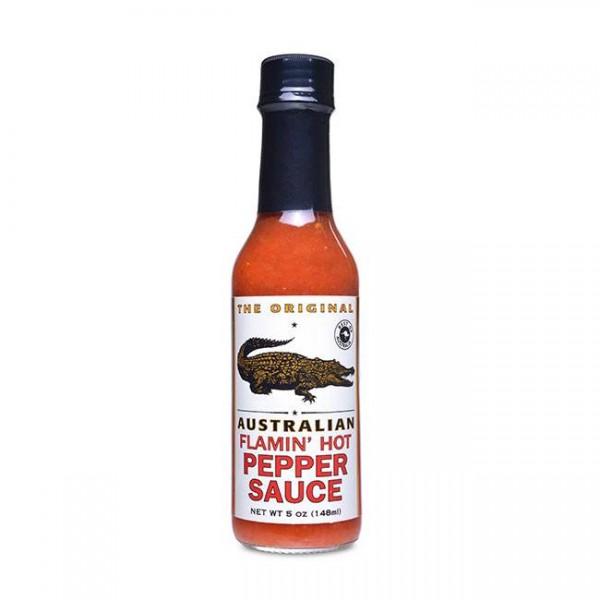 The Original Australian Flamin Hot Pepper Sauce 148ml mit Pfeffer & Chili
