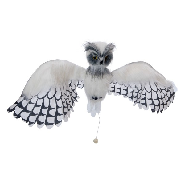 Schnee-Eule Hermine - flatternde und schreiende Halloween Figur - Sensorgesteuerte Aktivierung