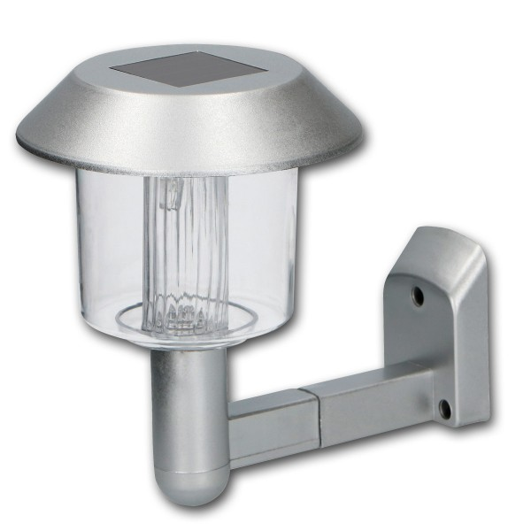 Solar-Wandleuchte - IP44 - 150x120mm - silber - kaltweiße LED