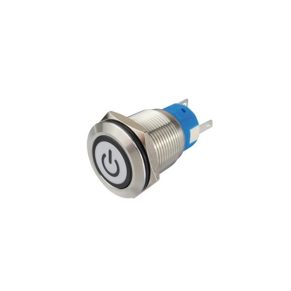 Metalltaster beleuchtet - mit An/Aus Symbol - max 230V 5A - IP67 - 19mm Einbaudurchmesser