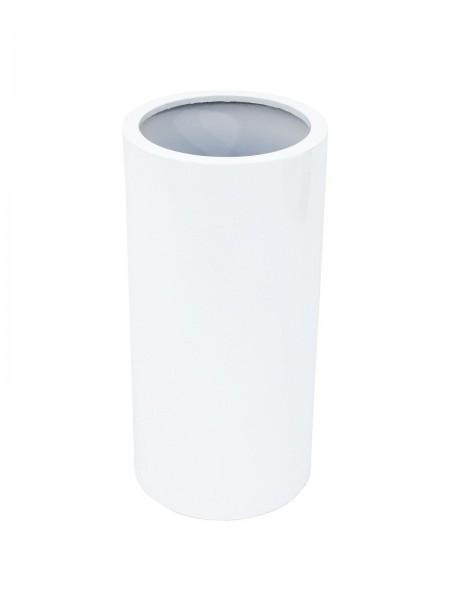 Übertopf leicht - TOWER-80 weiß - glänzend - zylinderförmig - aluminiumverstärkt