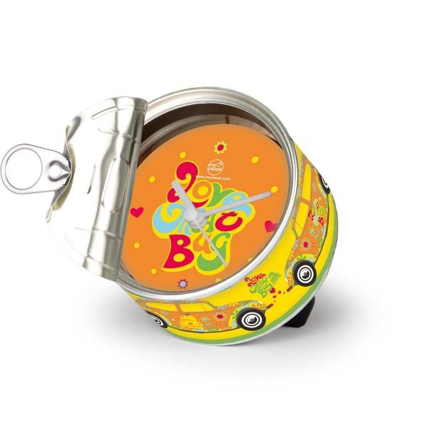 """VW Volkswagen MyClock """"BEETLE FLOWER"""" - Uhr in der Konservendose - magnetisch - Blickfang / Geschenk"""