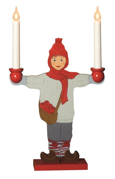 "LED Kerzenleuchter ""Sundborn"" - Leuchtfigur - Knabe - 2 Arme - warmweiße LEDs - H: 48cm - Schalter"