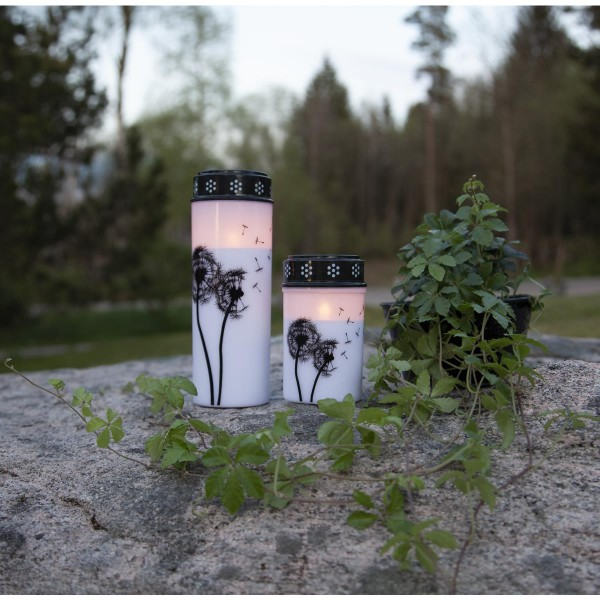 LED Grablicht/Grabkerze Pusteblume - warmweiße LED - H: 21cm, D: 7cm - Timer - weiß/schwarz