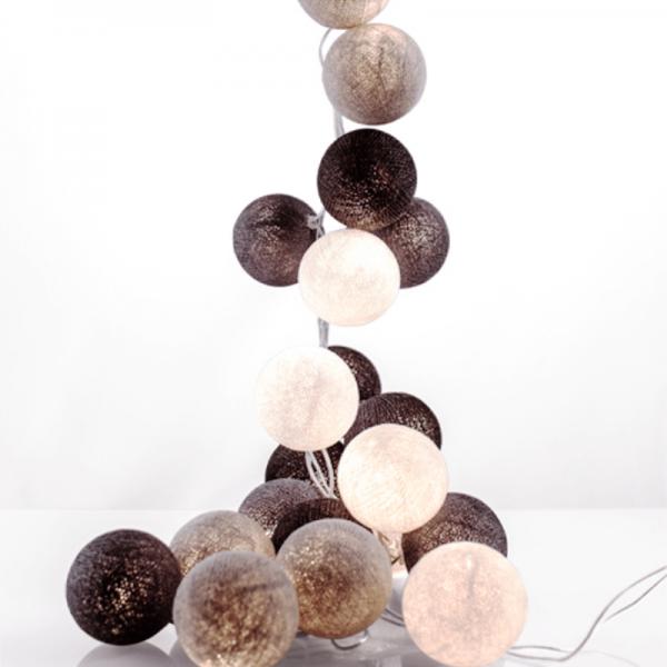 good moods* URGESTEIN - Ball-Lichterkette mit 20 Stoffkugeln - 20 warmweiße LEDs - Geschenkkarton