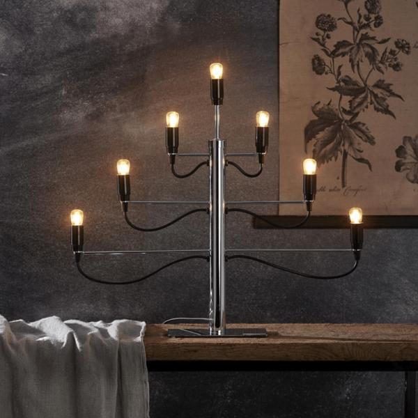 """Kerzenleuchter/Tischleuchte """"Milano"""" - 7-armig - E14 Fassung - H: 52,5cm, L: 60cm - schwarz/silber"""