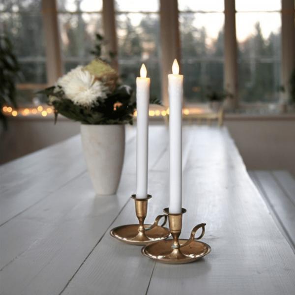 LED Stabkerze Presse - Echtwachs - flackernde warmweiße LED - H: 25cm - weiß - 2er Set