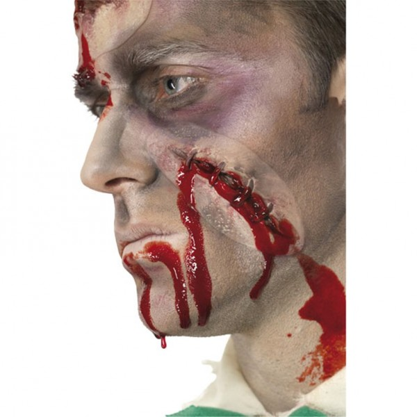 Halloween Maske - selbst genähte Wunde - Latex - Fleischwunde für Zombiekostüm - inkl. Kunstblut