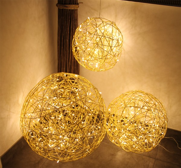 """Drahtkugel gold """"GOLD SPHERE 40"""" - 40cm - 100 warmweiße LEDs - outdoor IP44, Trafo"""