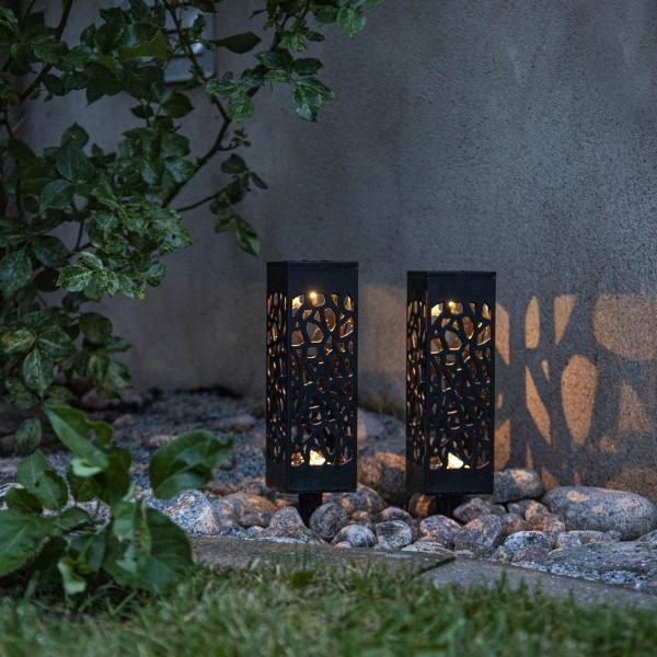LED Solar Wegleuchte - warmweiße LED - H: 18cm - Dämmerungssensor - schwarz - 2er Set