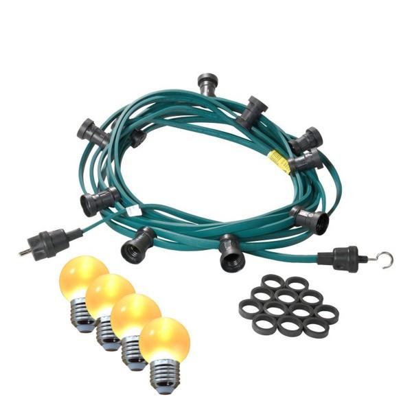 Illu-/Partylichterkette 50m - Außenlichterkette - Made in Germany - 50 x ultra-warmweiße LED Kugeln