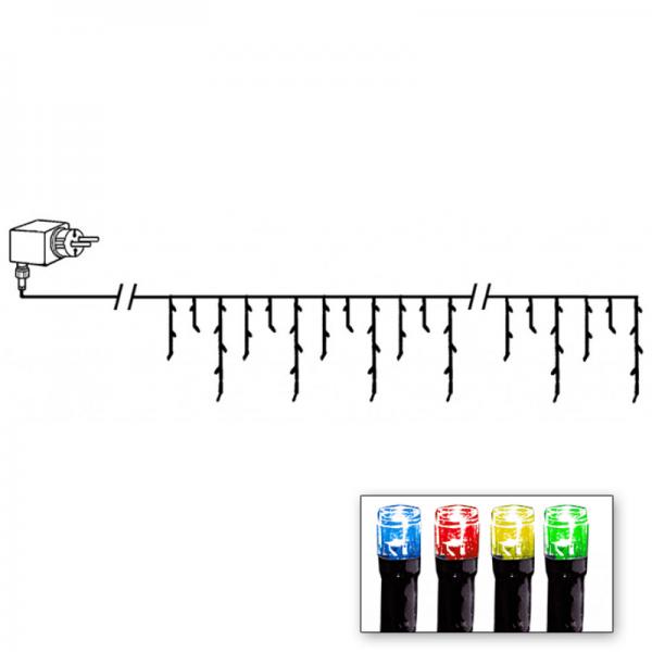 LED-Lichtvorhang | Serie LED | Outdoor | Schwarzes Kabel | 144 bunte LED | 4.00m x 40m