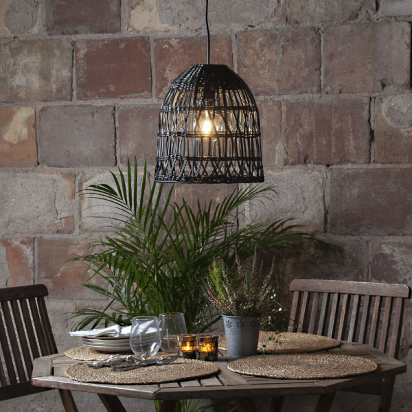 Lampenschirm KNUTE wetterfest - für E27 Fassungen - schwarz - D: 30cm - H: 33cm