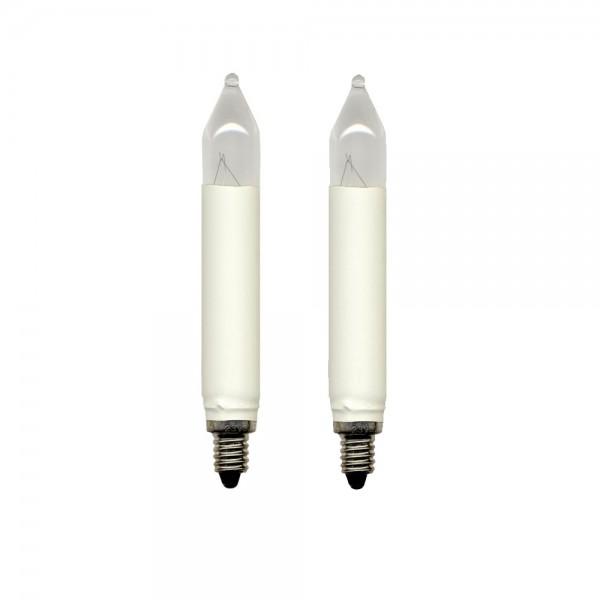 Schaft-Leuchtmittel   Ersatz für 30er Schaft-Kerzenkette   E10   8V   3W   Warmweiß   2er Set
