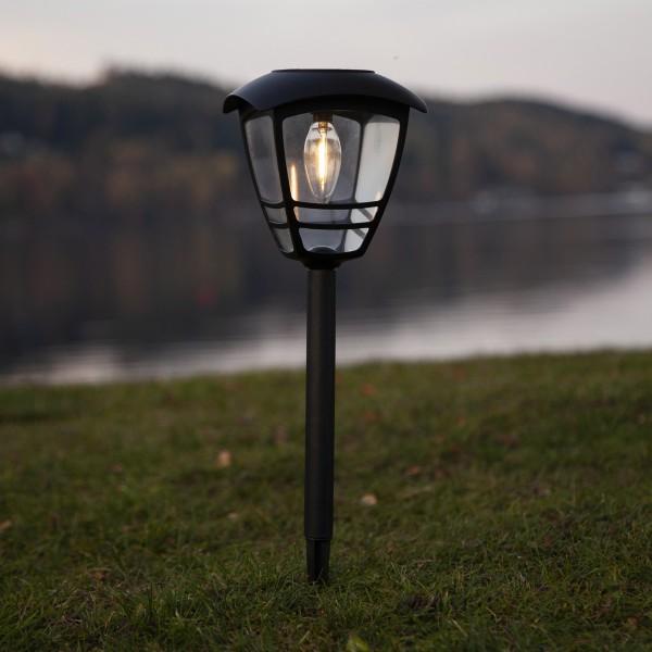 LED Solar Wegleuchte FELIX - warmweiße Filament LED - H: 45cm - D: 14cm - Dämmerungssensor