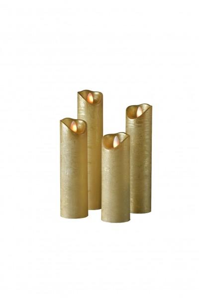 SOMPEX LED Wachskerze SHINE 4er Set schmal | gold | gefrostet | fernbedienbar | Timer