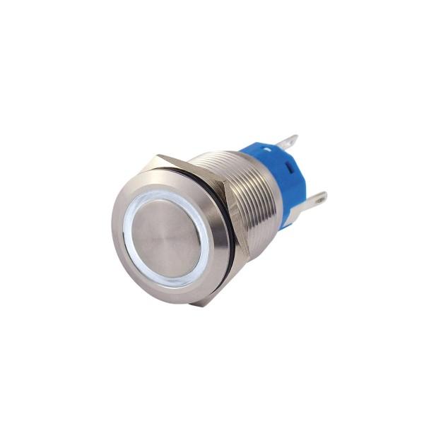 Metallschalter beleuchtet - mit weißem Leuchtring - max 230V 5A - IP67 - 19mm Einbaudurchmesser