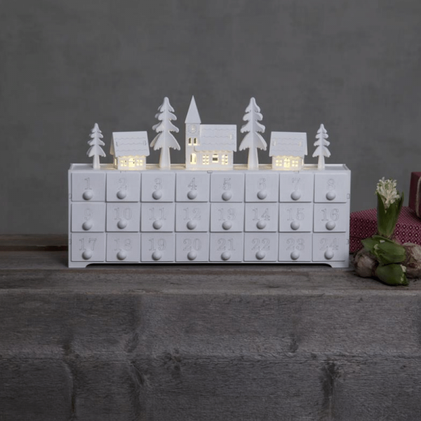 LED Adventskalender - 24 Schubladen in einem kleinen Holzkästchen - 4 warmweiße LED - weiß