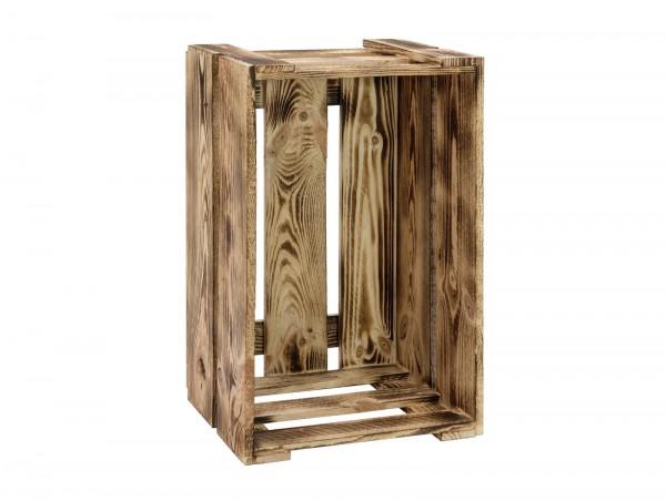 Weinkiste geflammt - Naturholz lackiert - stabil, auch als Sitzmöbel zu verwenden - Holzkiste